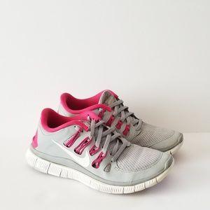 Nike Free 5.0 Wolf Grey Pink Size 7